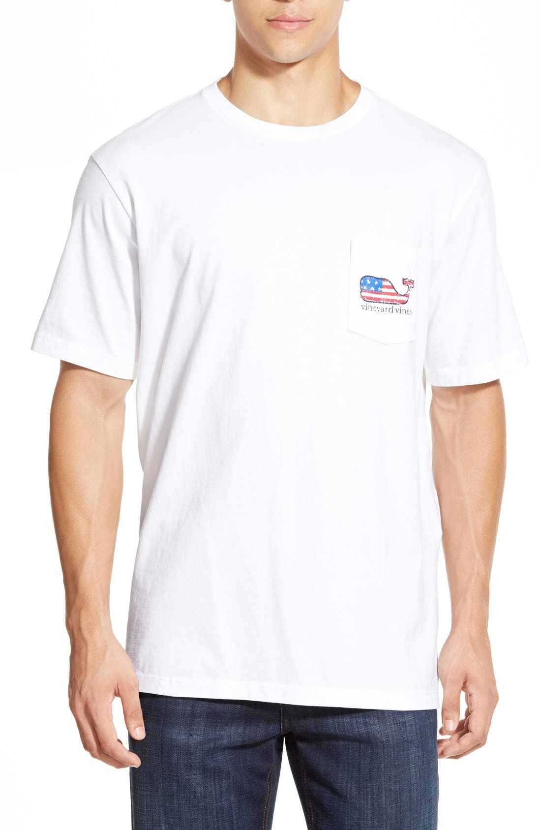 American Flag Whale Graphic T-Shirt,                             Alternate thumbnail 2, color,                             White