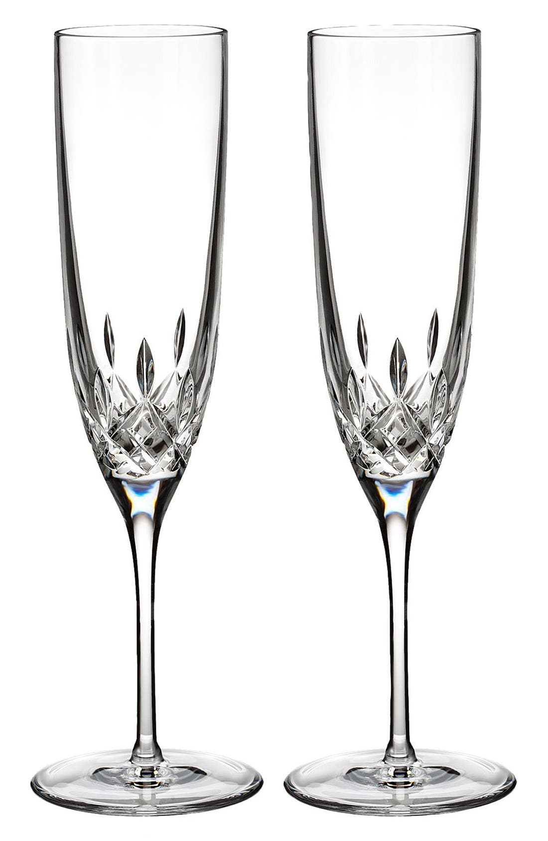 'Lismore Encore' Lead Crystal Flutes,                             Main thumbnail 1, color,                             Clear
