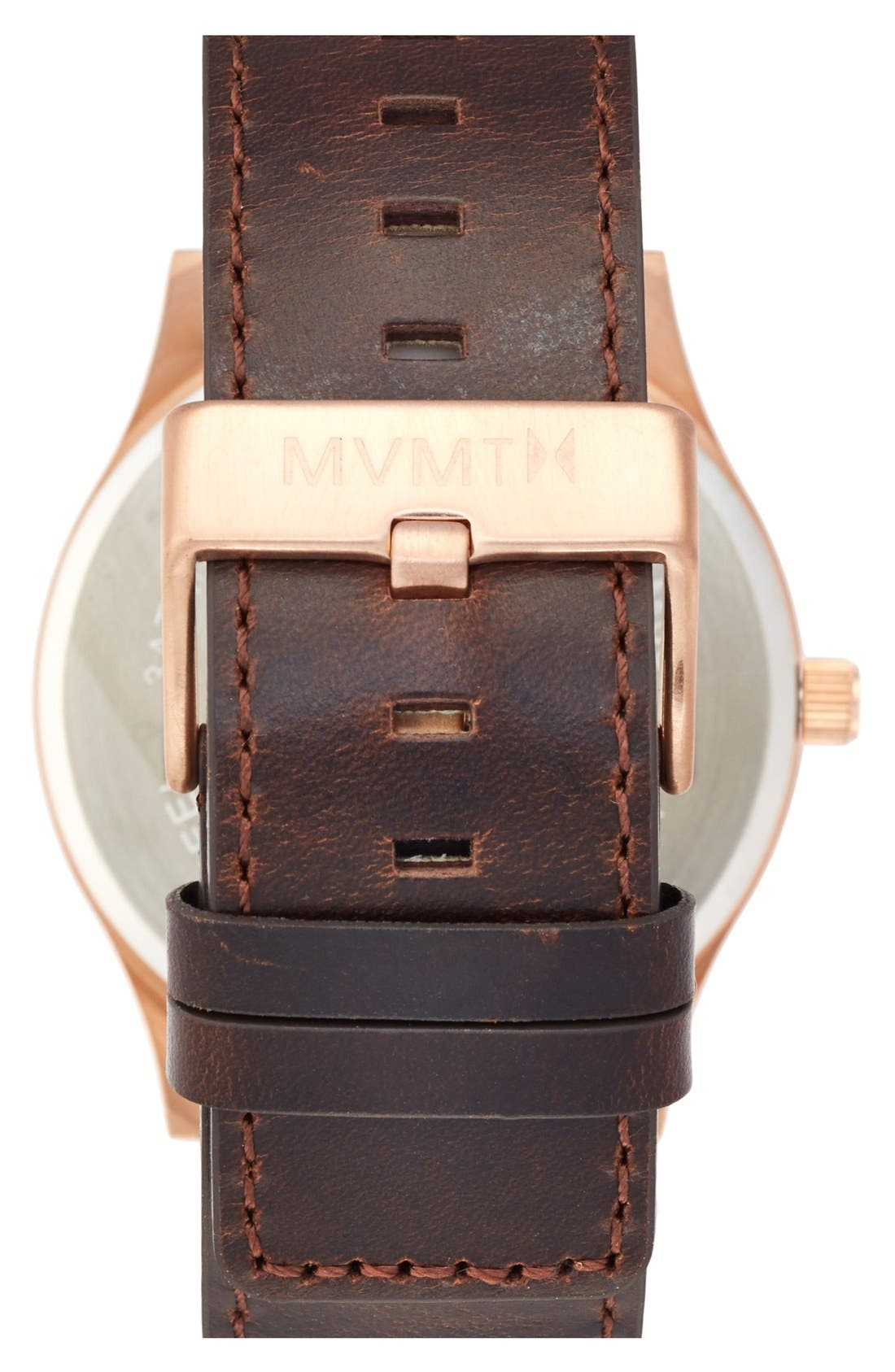 Leather Strap Watch, 45mm,                             Alternate thumbnail 2, color,                             Brown/ Rose Gold