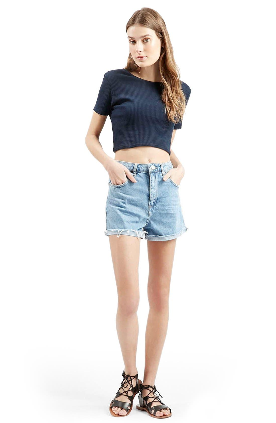 Alternate Image 2  - Topshop 'Girlfriend' Denim Shorts