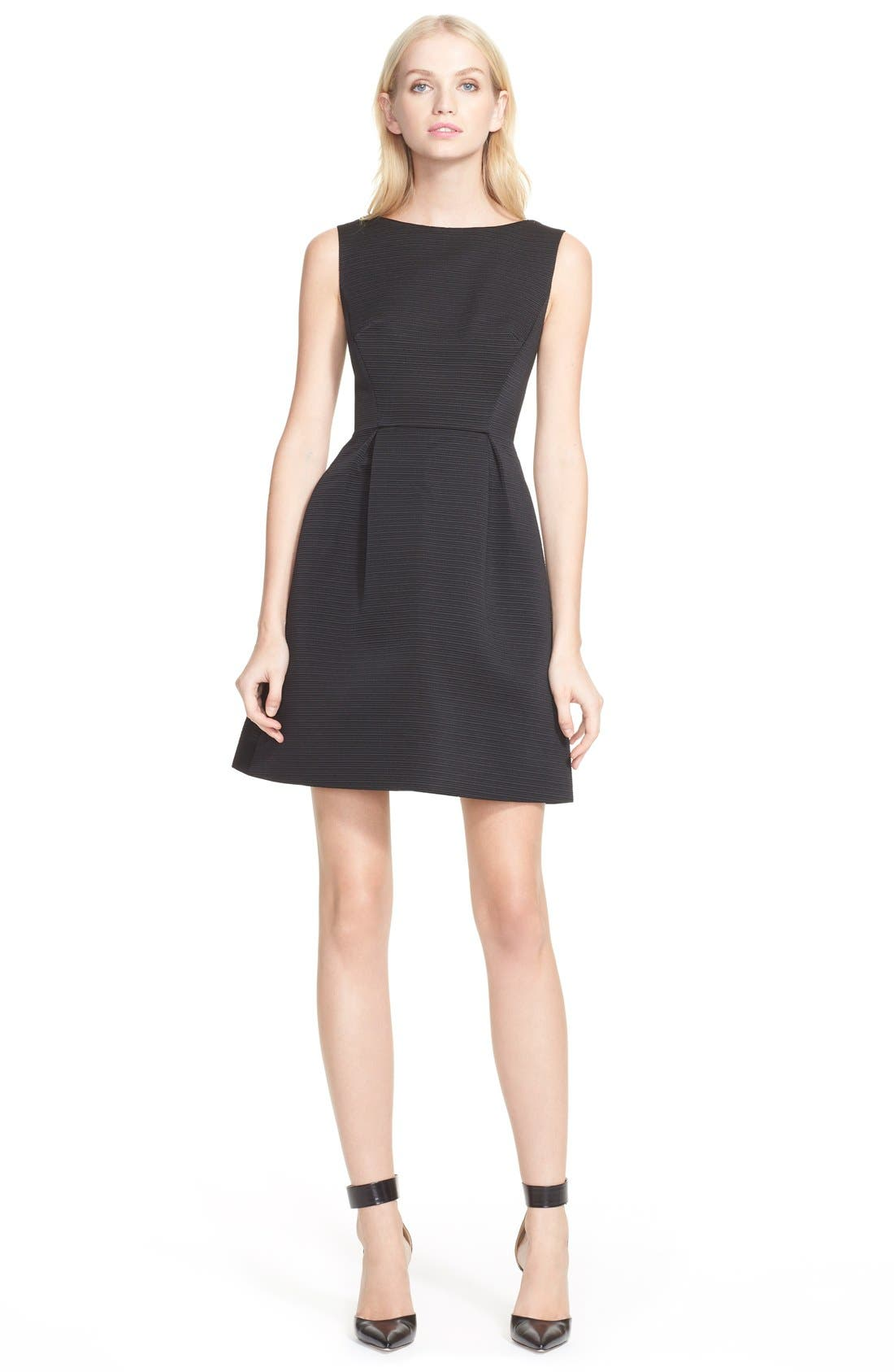 Alternate Image 1 Selected - kate spade textured fit & flare bow detail dress