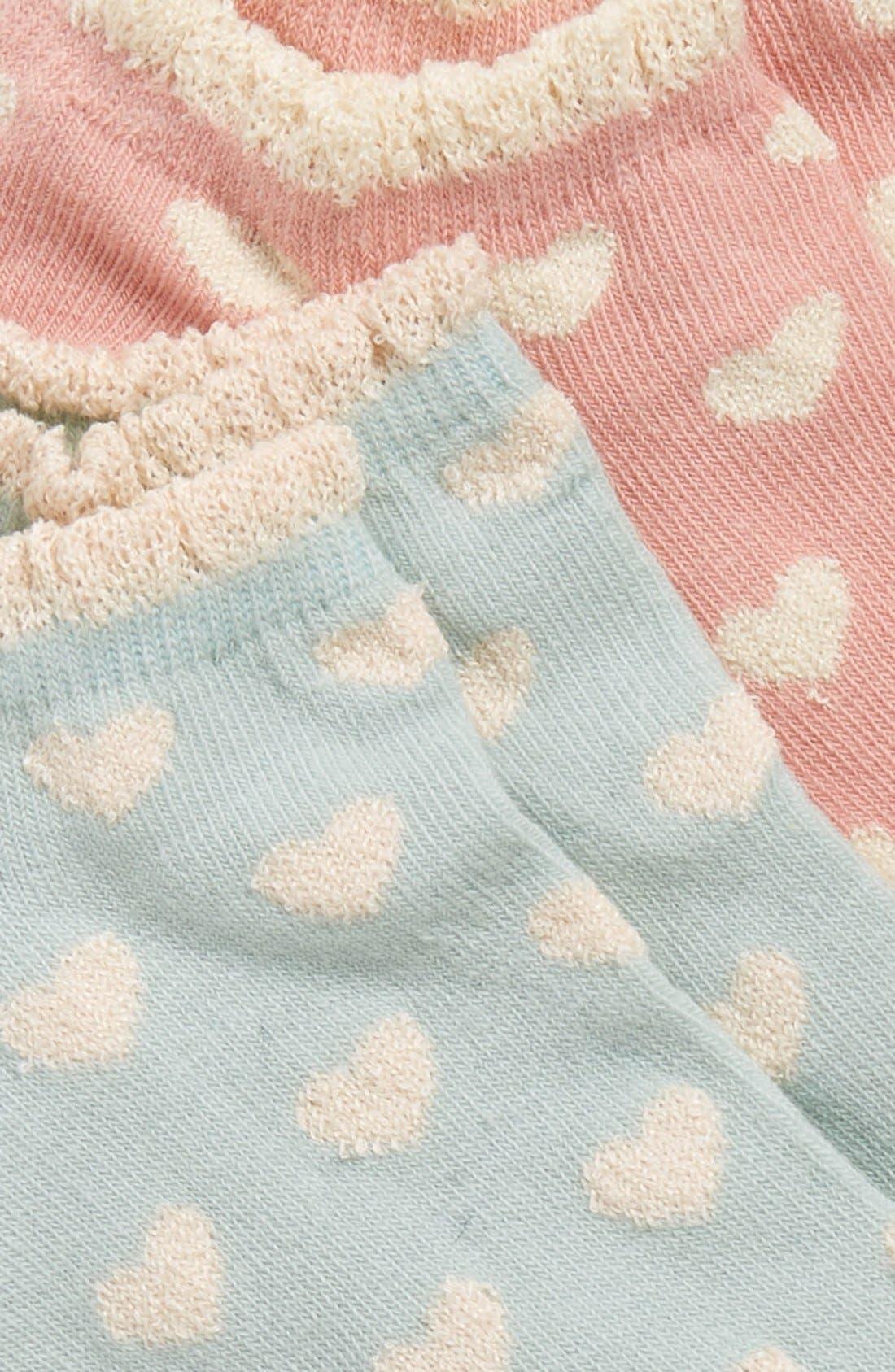 Alternate Image 2  - Girly Heart Print Ankle Socks (2-Pack)