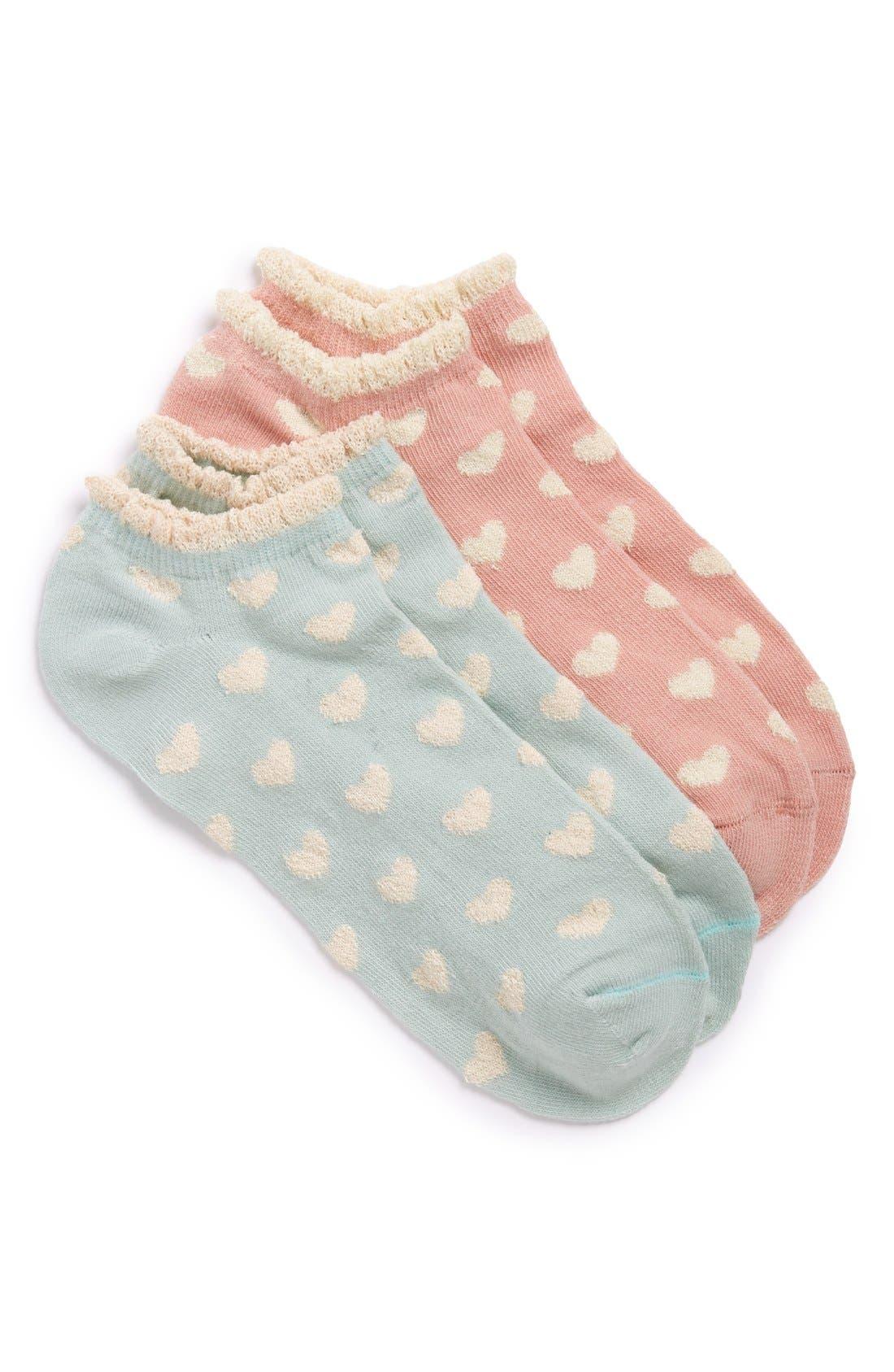 Alternate Image 1 Selected - Girly Heart Print Ankle Socks (2-Pack)