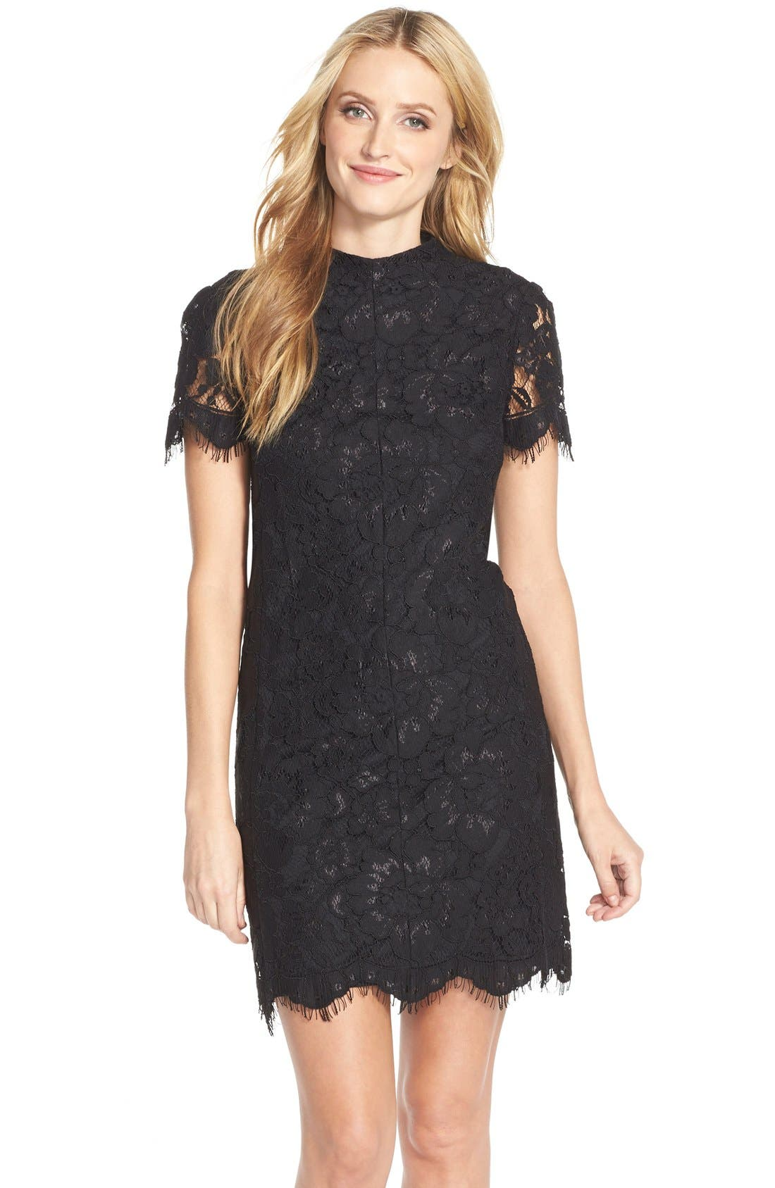 Main Image - Betsey Johnson Mock Neck Lace Sheath Dress