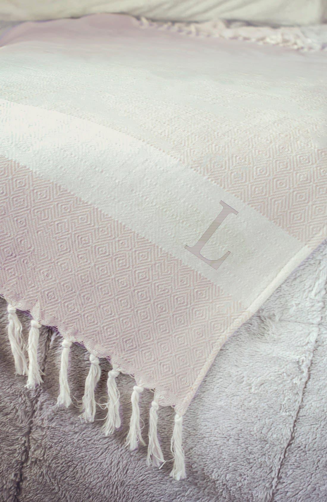 Monogram Turkish Cotton Throw,                             Alternate thumbnail 2, color,