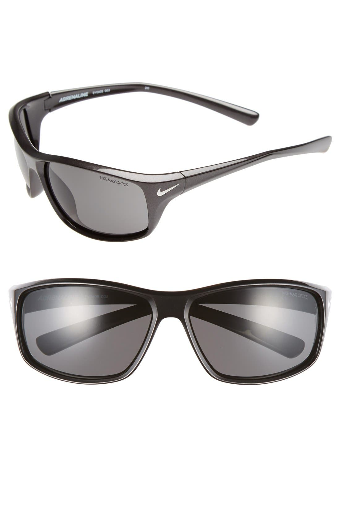 'Adrenaline' 64mm Sunglasses,                             Main thumbnail 1, color,                             Stealth