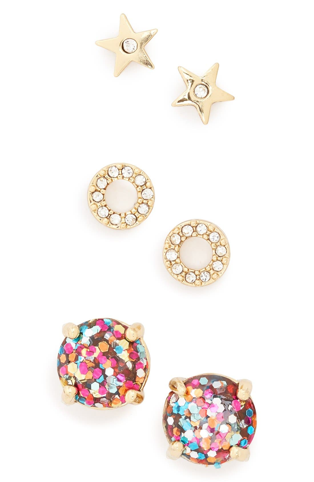 Alternate Image 1 Selected - kate spade new york star & round stud earrings (Set of 3)