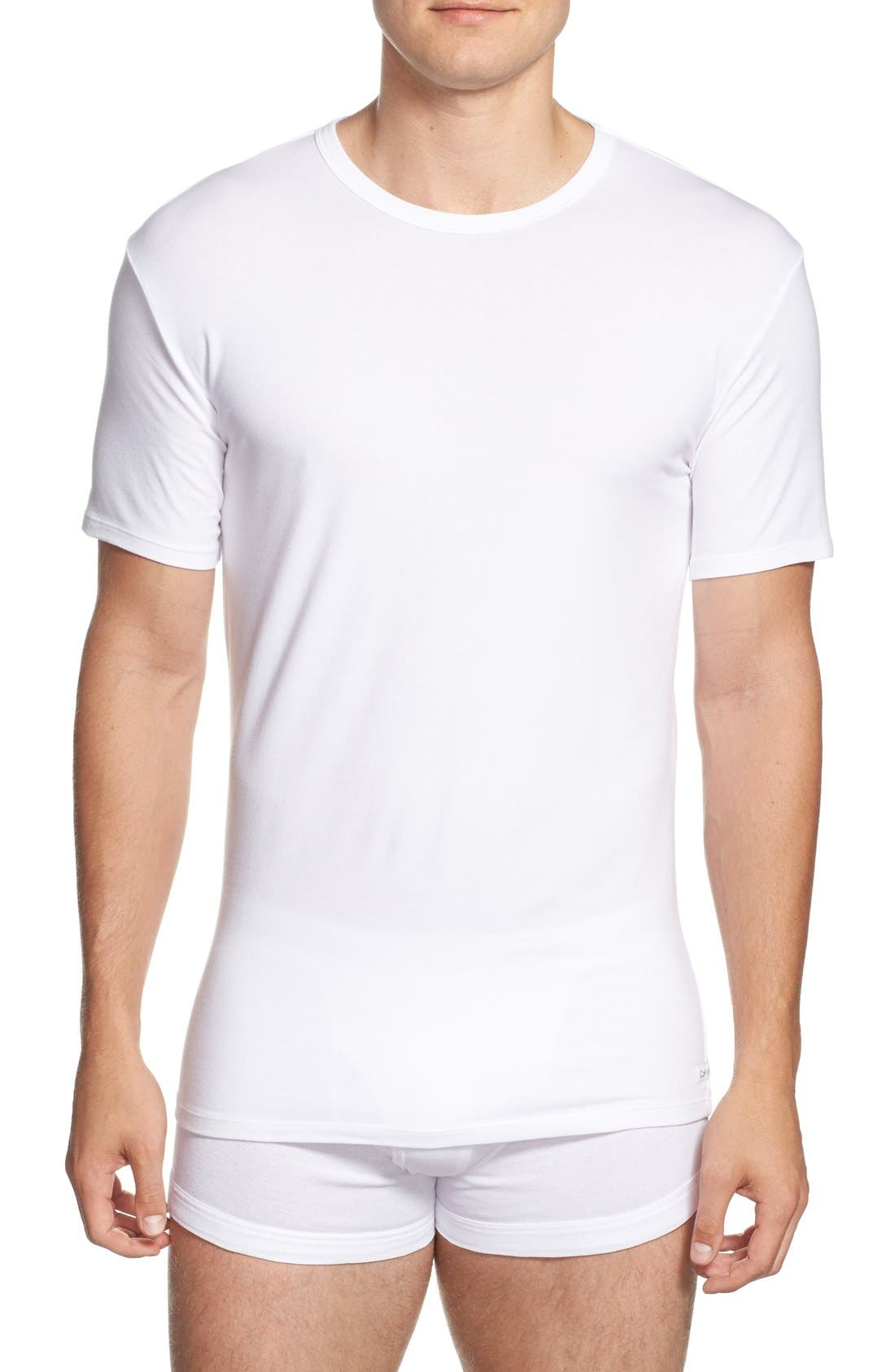 2-Pack Stretch Cotton Crewneck T-Shirt,                             Main thumbnail 1, color,                             White