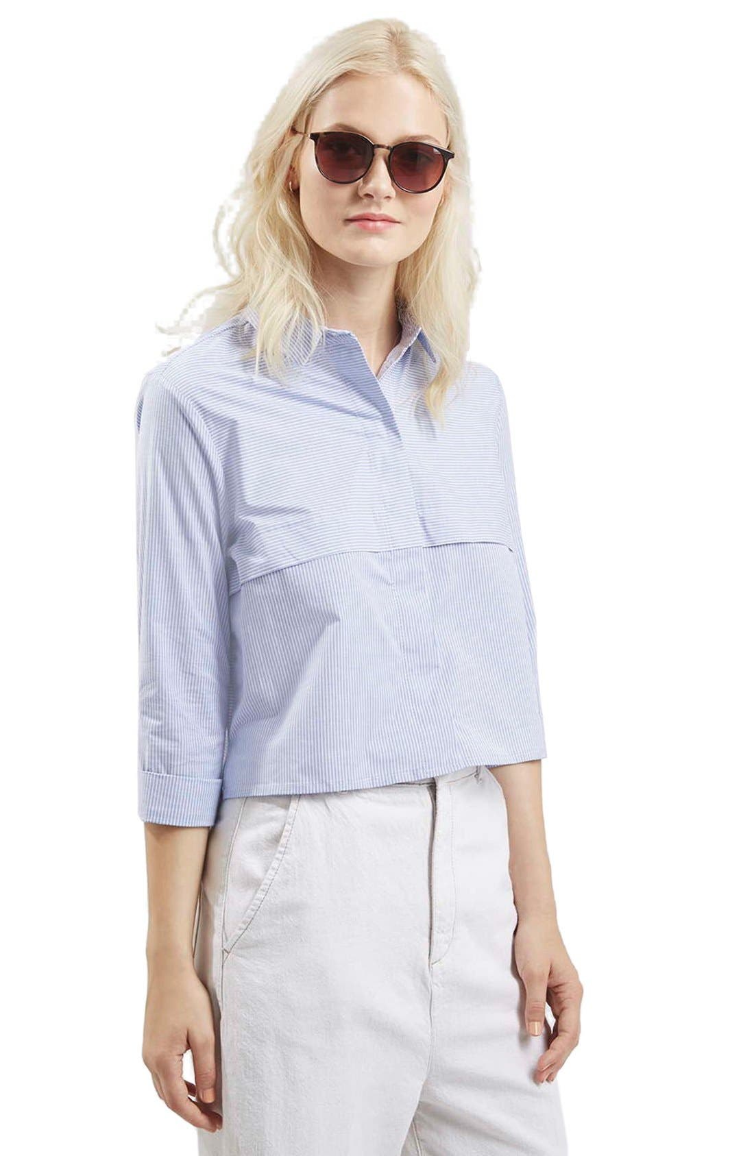 Alternate Image 1 Selected - Topshop Stripe Crop Shirt