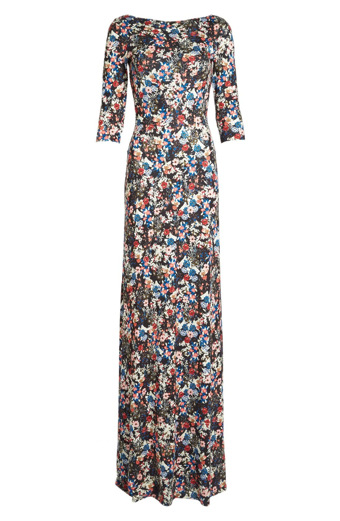 'Valentina' Floral Print JerseyGown,                             Alternate thumbnail 4, color,                             Pink/ Multi