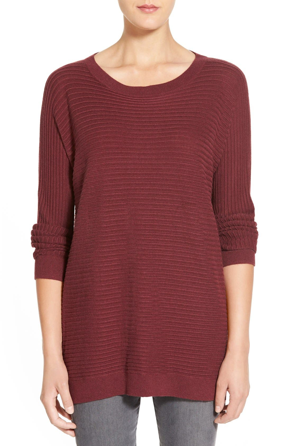 Side Zip Tunic Sweater,                         Main,                         color, Burgundy Fig Heather