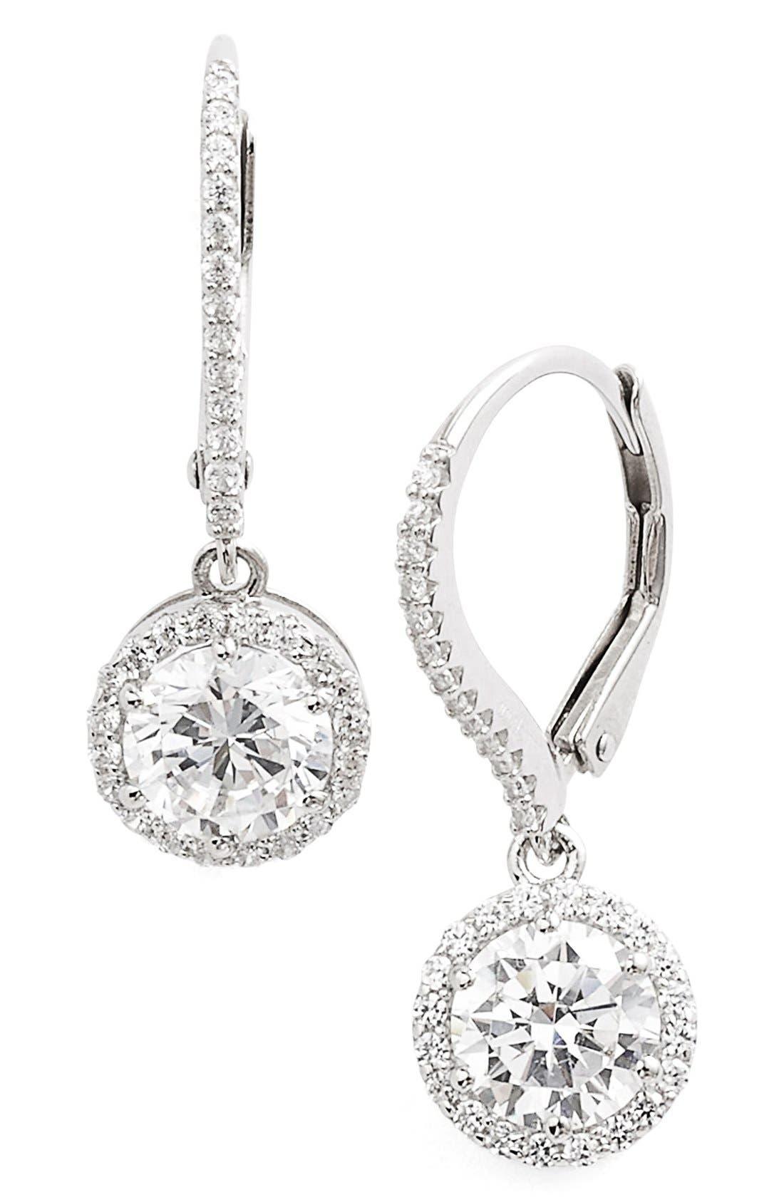 'Lassaire' Drop Earrings,                         Main,                         color, Silver/ Clear