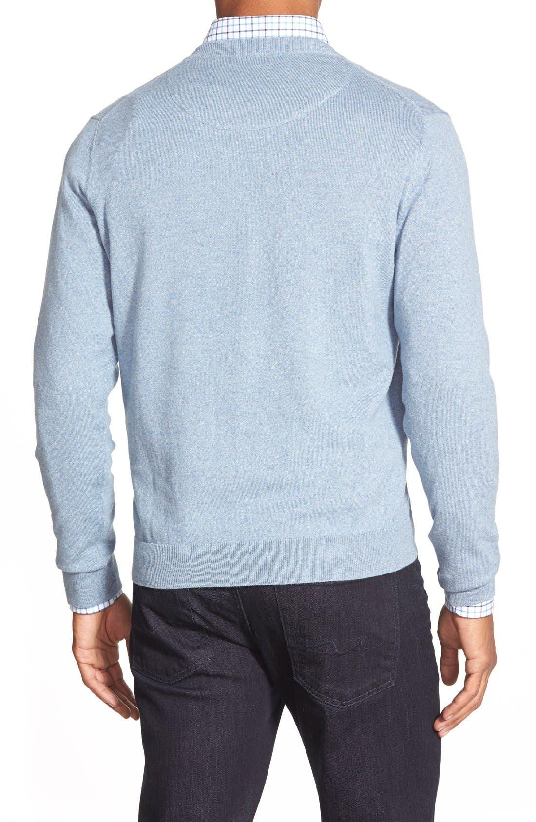 Cotton & Cashmere V-Neck Sweater,                             Alternate thumbnail 2, color,                             Blue Celestial Heather