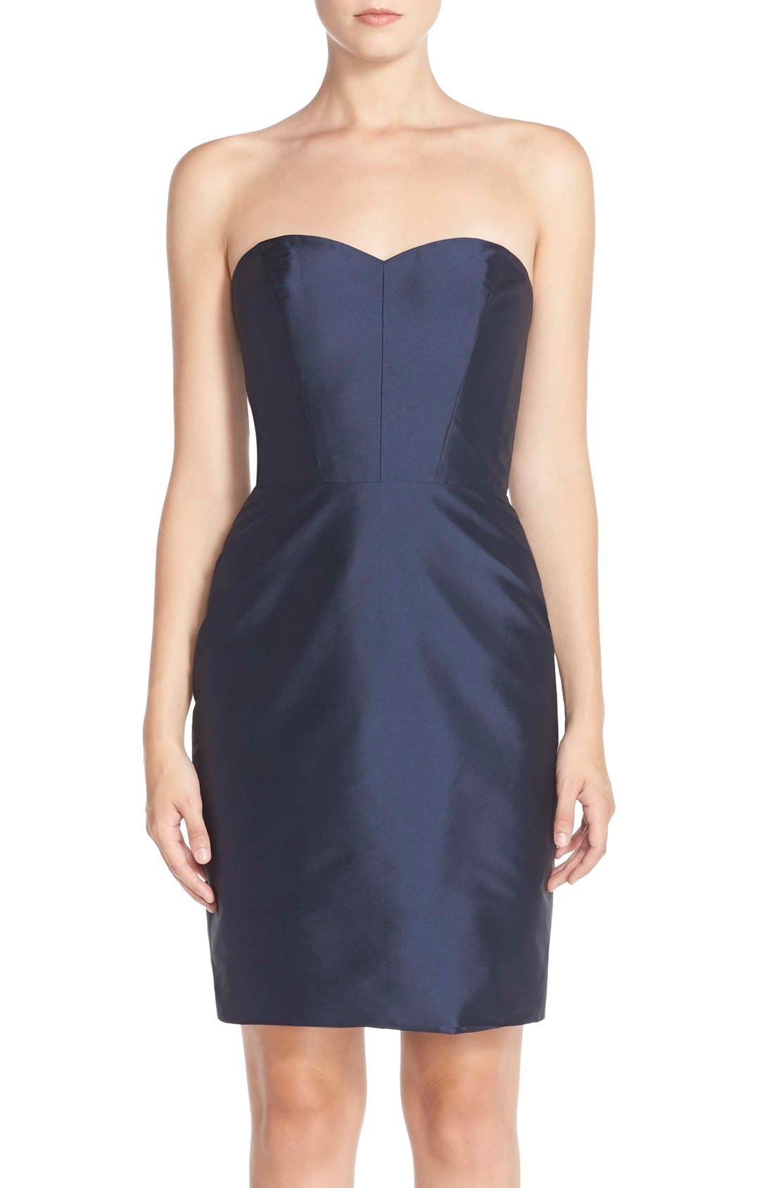 Main Image - Monique Lhuillier Bridesmaids Strapless Taffeta Sheath Dress