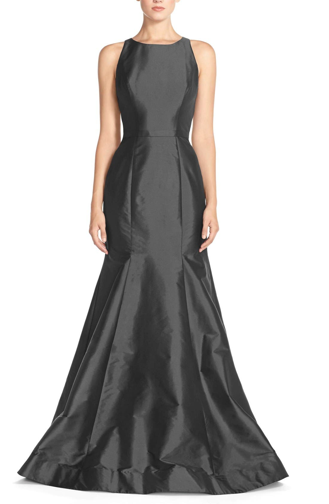 Main Image - Monique Lhuillier Bridesmaids Back Cutout Taffeta Mermaid Gown