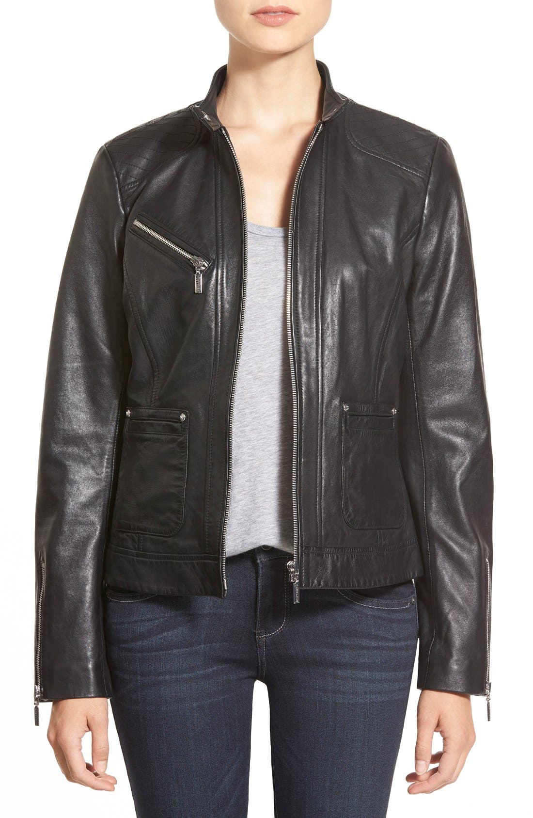 Zip Front Leather Jacket,                         Main,                         color, Black