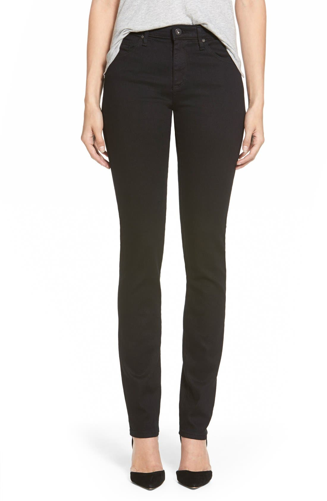 Alternate Image 1 Selected - AG Harper Slim Straight Leg Jeans (Overdyed Black)