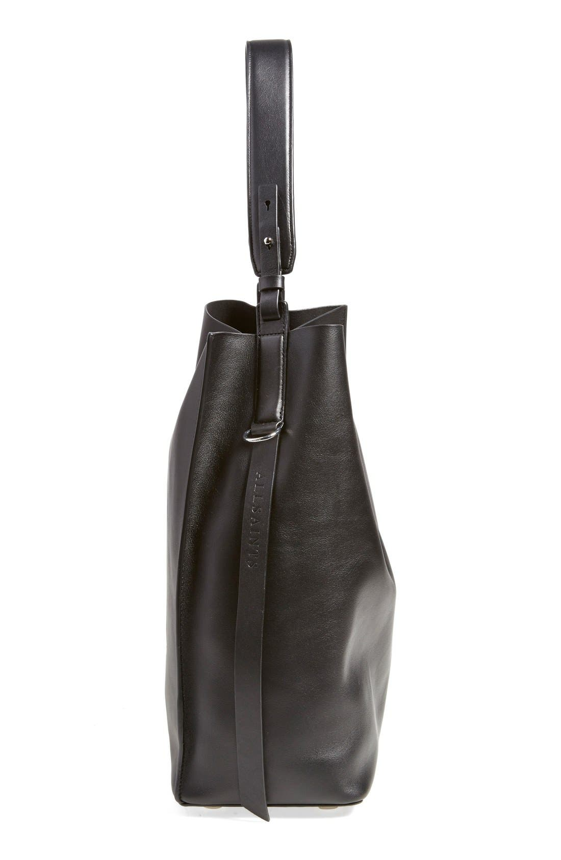 'Paradise North/South' Calfskin Leather Tote,                             Alternate thumbnail 5, color,                             Black/ Black