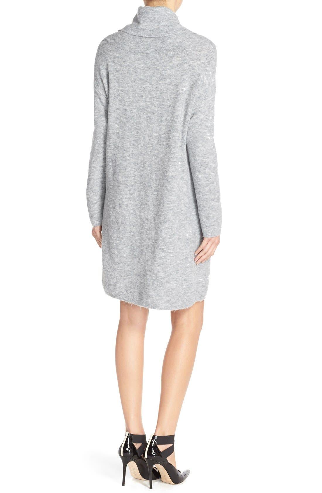 'Leighton' Turtleneck Sweater Dress,                             Alternate thumbnail 2, color,                             Grey