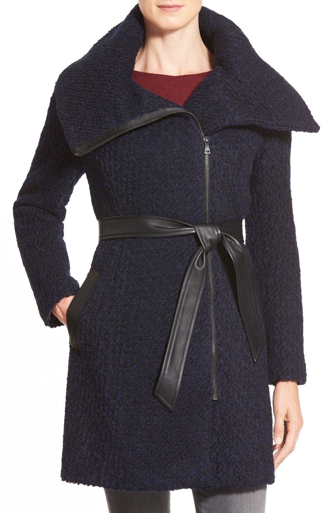 Belted Asymmetrical Bouclé Wool Blend Coat,                             Main thumbnail 1, color,                             Black/ Navy