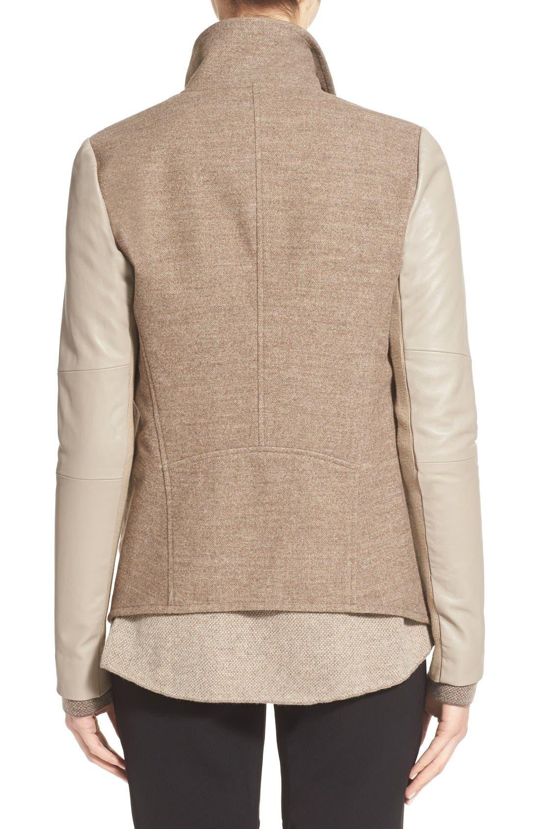 Alternate Image 2  - Vince Leather Trim Drape Neck Jacket