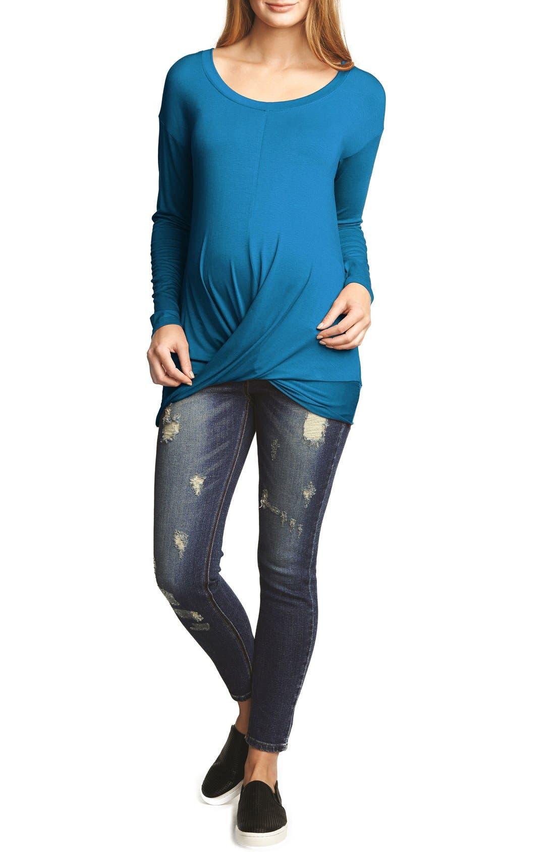 Draped Maternity Tunic,                         Main,                         color, Teal
