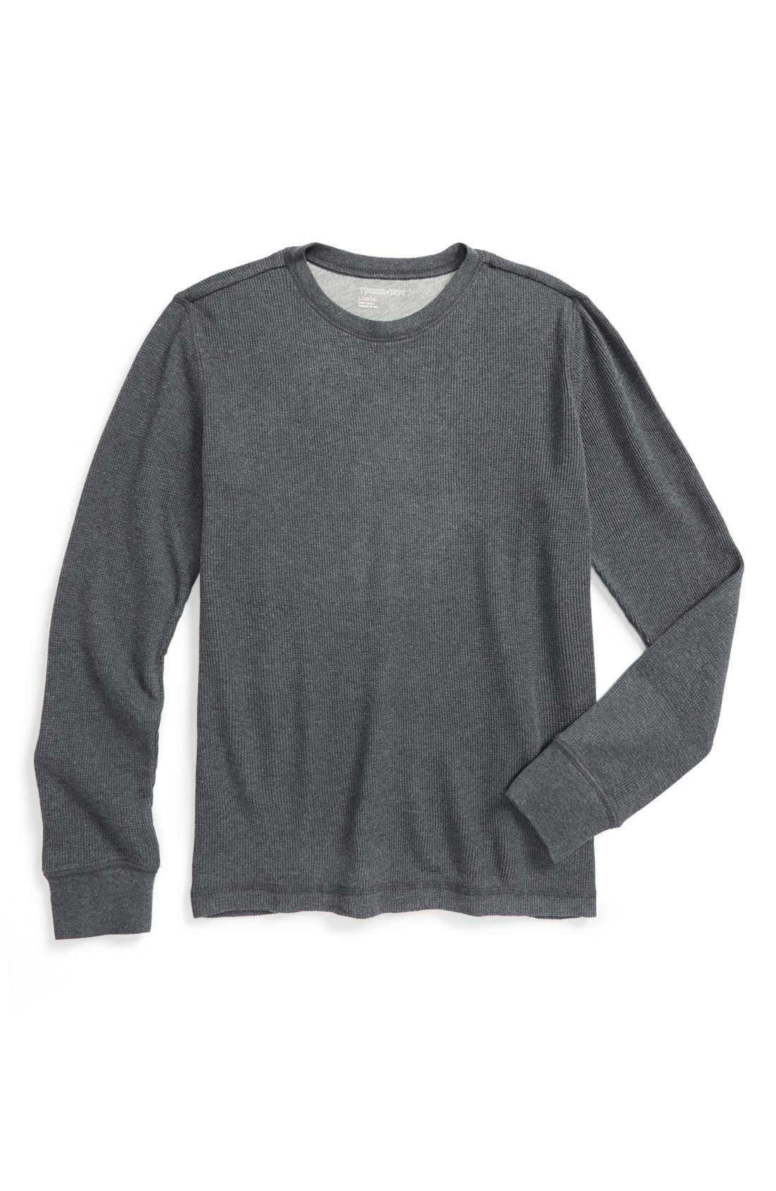 Long Sleeve Thermal T-Shirt,                         Main,                         color, Grey Charcoal Heather