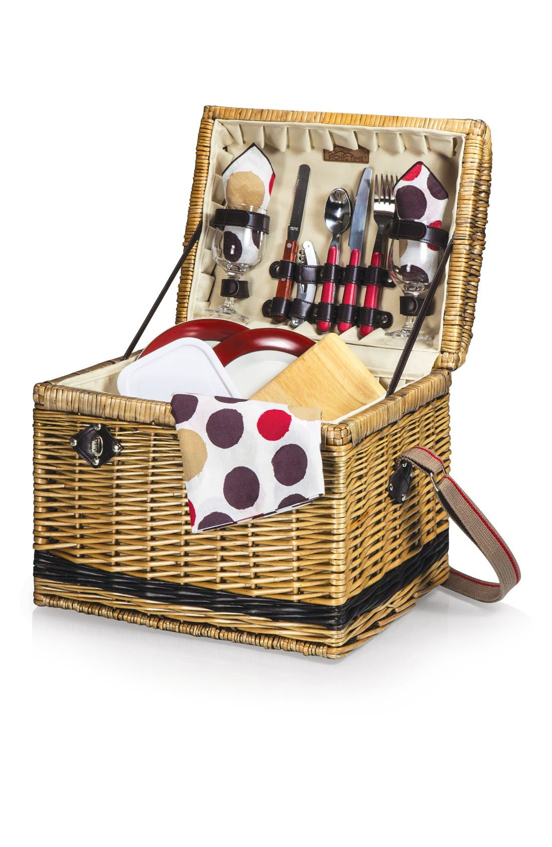 'Yellowstone' Wicker Picnic Basket,                             Main thumbnail 1, color,                             Brown
