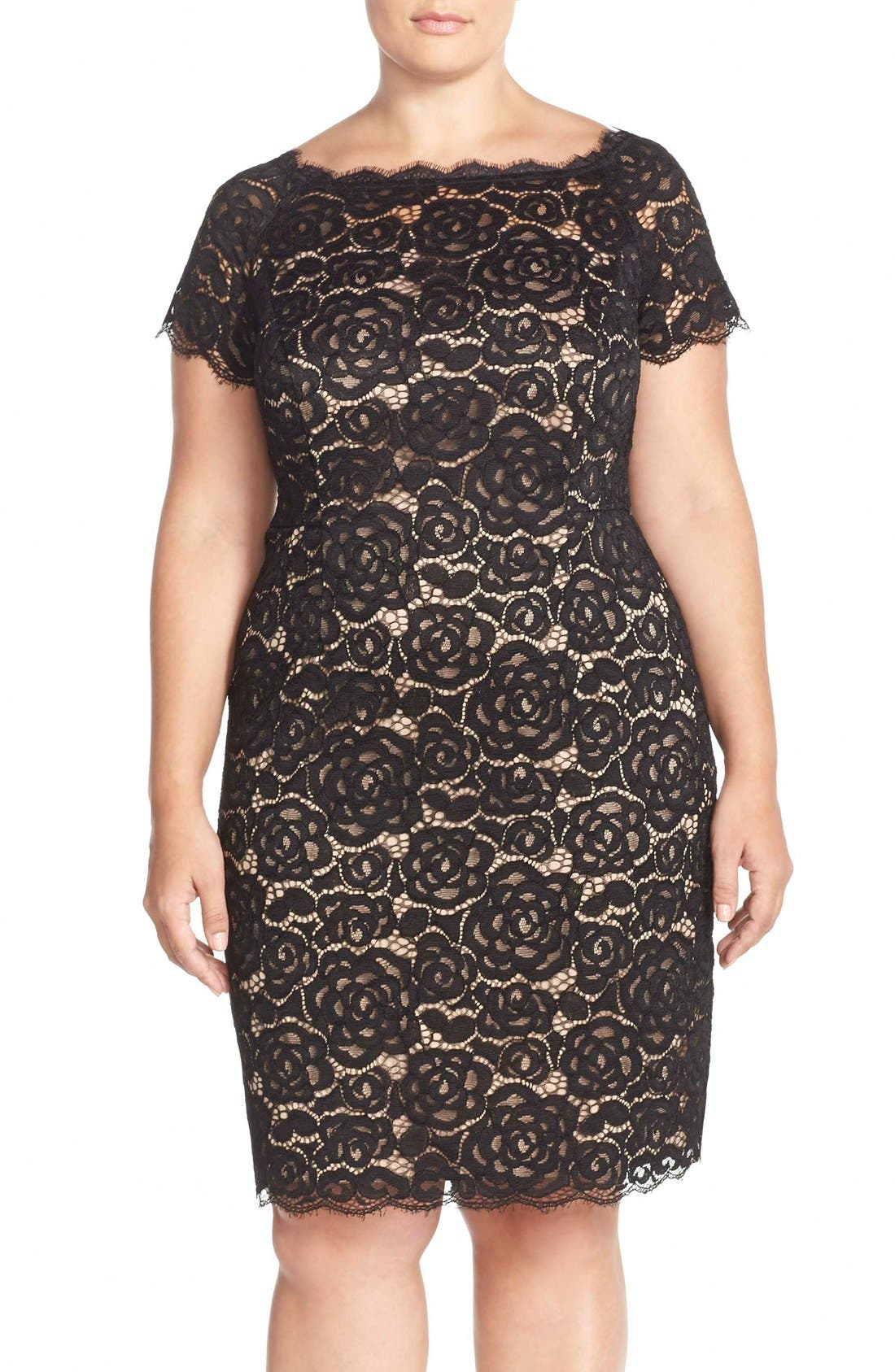 Off the Shoulder Lace Sheath Dress,                         Main,                         color, Black/ Nude