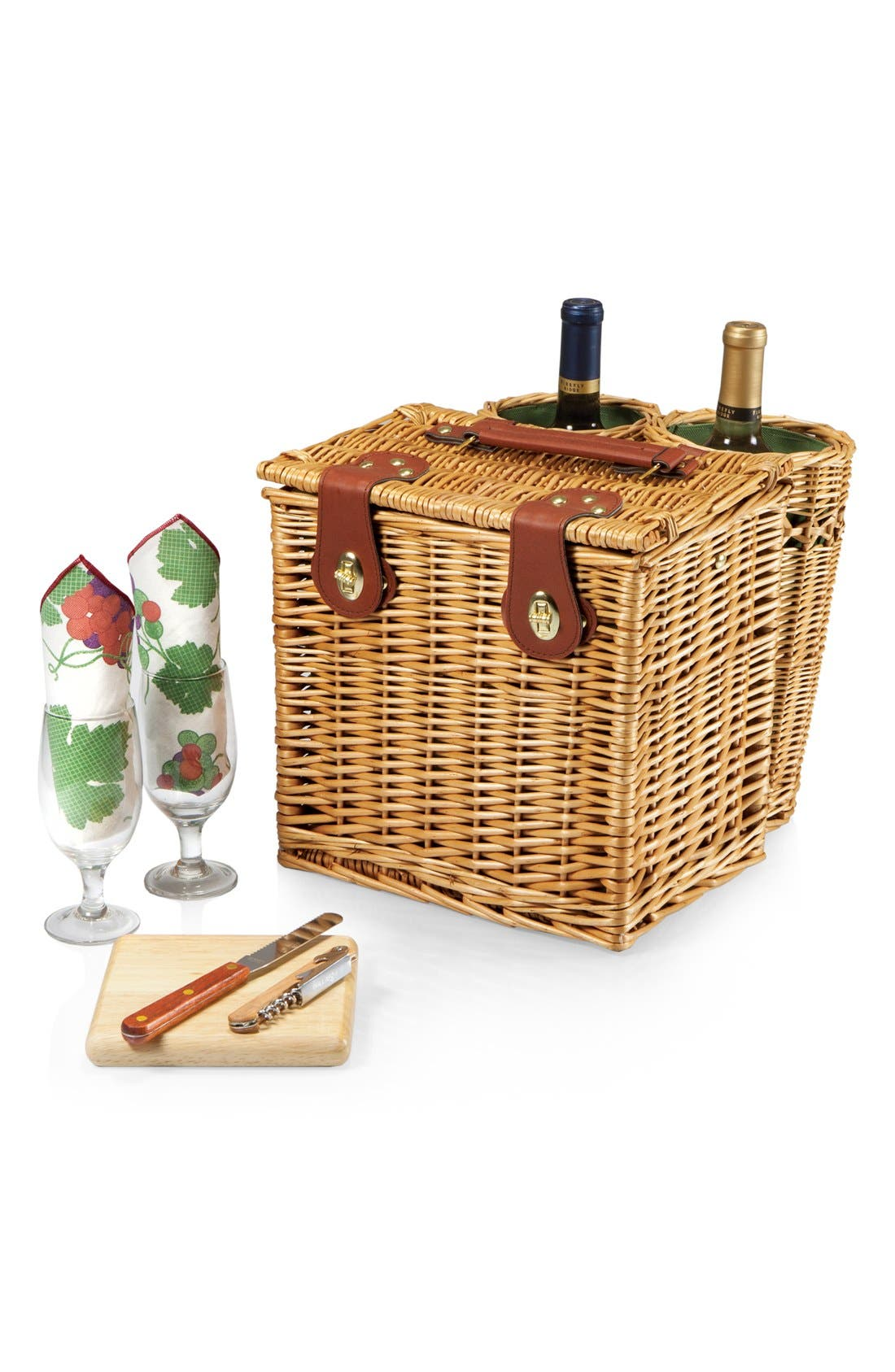 'Vino' Wine & Cheese Picnic Basket,                             Alternate thumbnail 4, color,                             Green