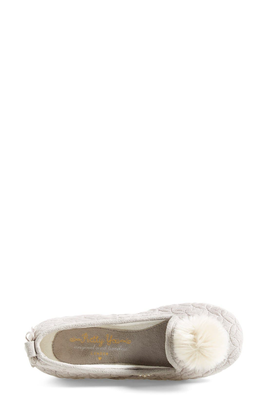 Alternate Image 2  - Pretty You London 'Opera' Quilted Faux Fur Pompom Slipper