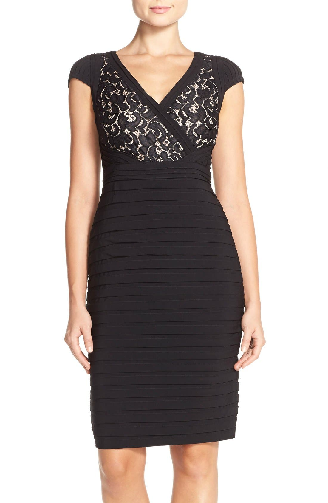 Lace & Jersey Sheath Dress,                             Main thumbnail 1, color,                             Black