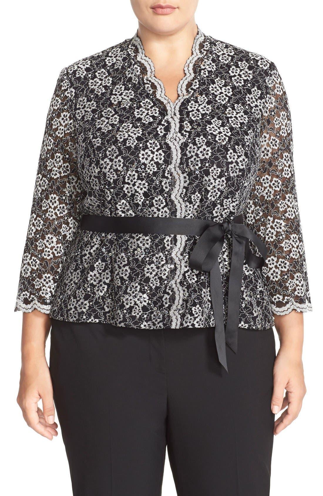 Alex Evenings Belted Sequin Lace Blouse (Plus Size)