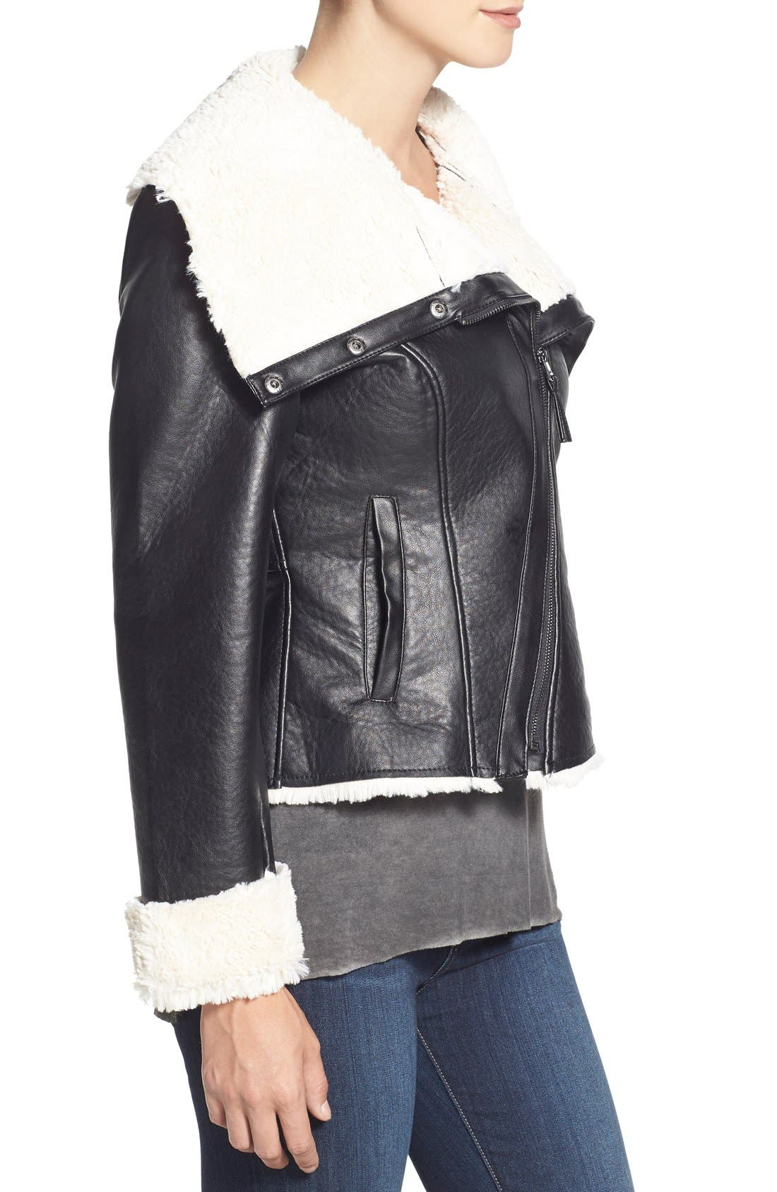 Alternate Image 4  - Steve Madden Faux Shearling Crop Moto Jacket