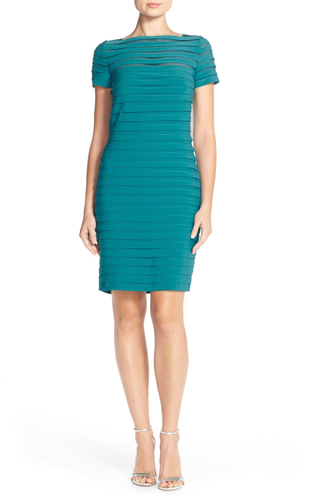 Alternate Image 4  - Adrianna Papell Illusion Bodice Pleated Jersey Sheath Dress (Regular & Petite)
