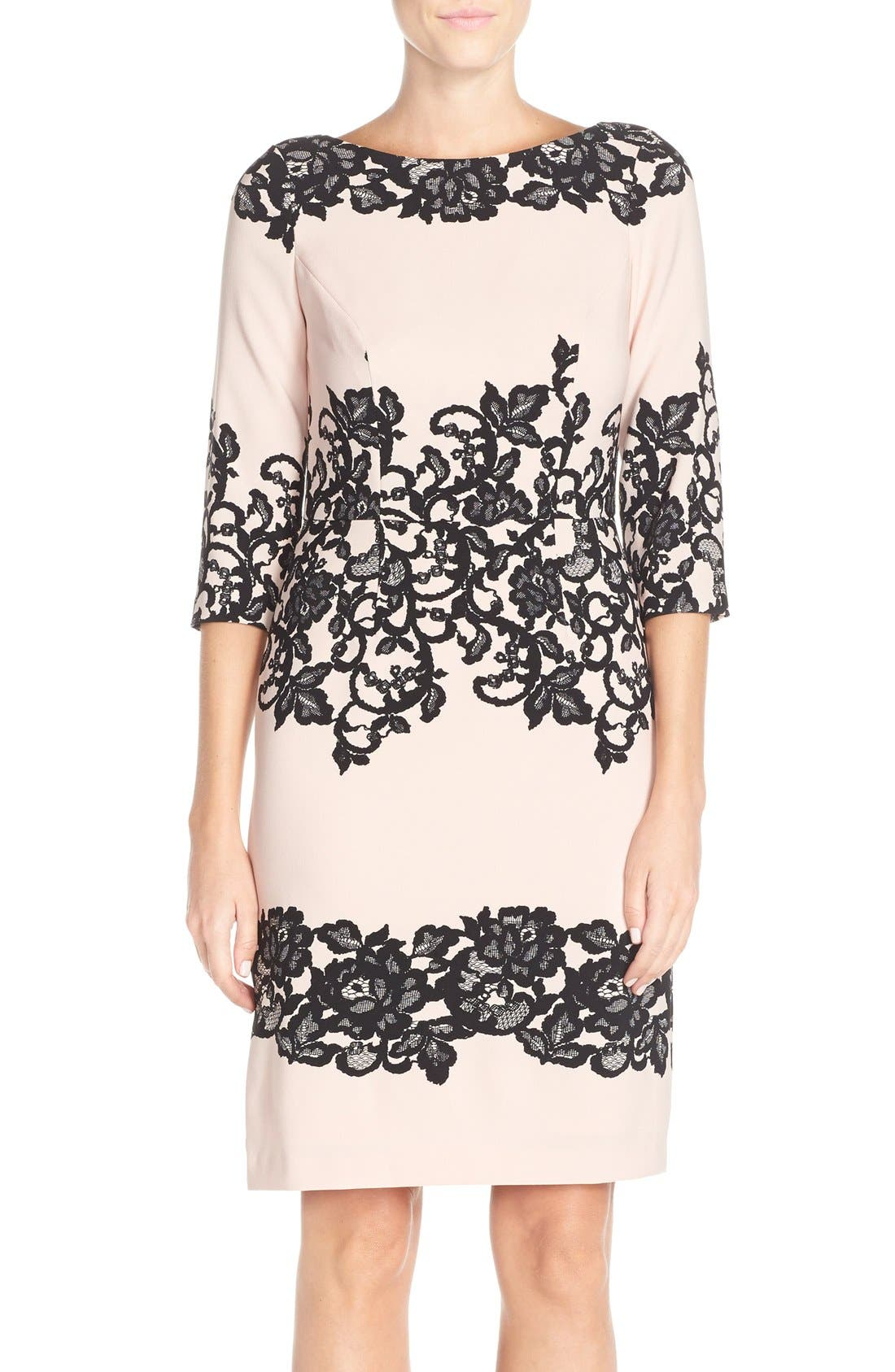 Main Image - Adrianna Papell Placed Print Sheath Dress