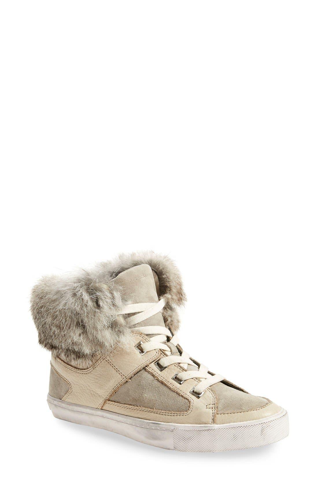 Alternate Image 1 Selected - Rebecca Minkoff'Shiloh' Genuine Rabbit Fur CollarSneaker (Women)