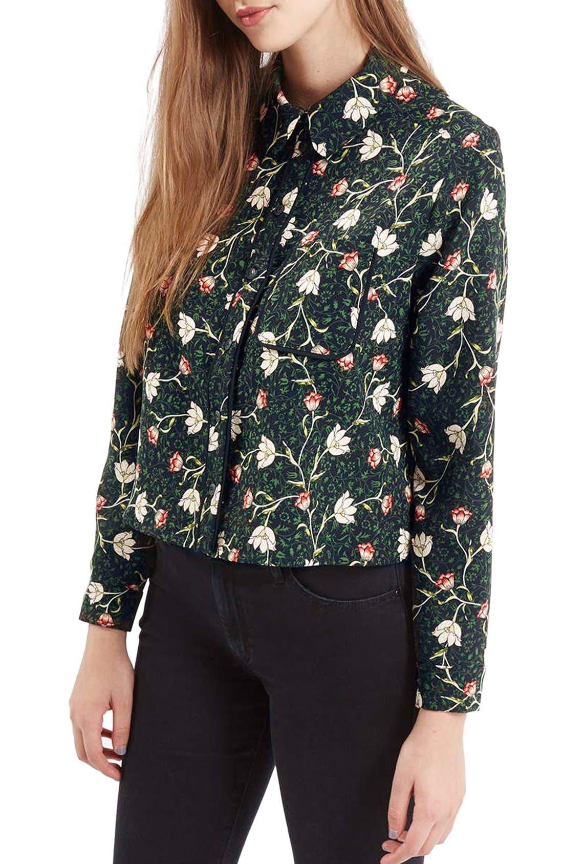 Alternate Image 1 Selected - Topshop Floral Print Boxy Shirt