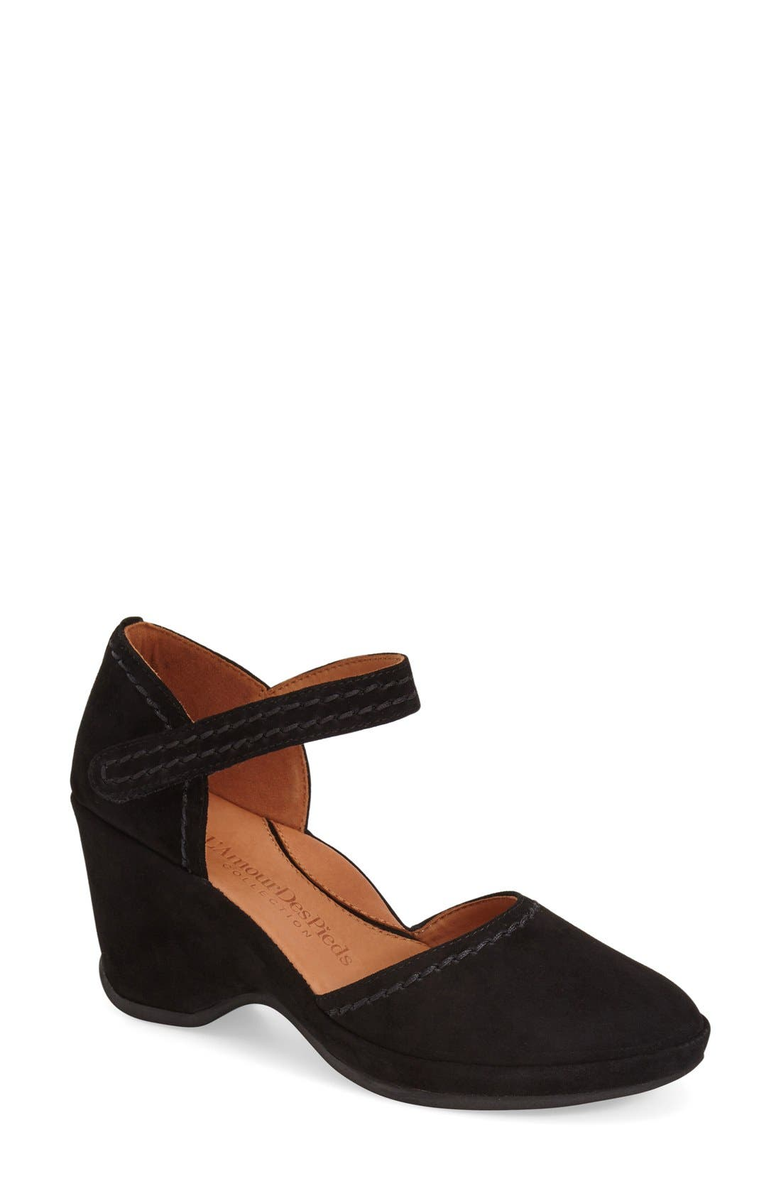 L'Amourdes Pieds'Orva' Wedge Sandal,                             Main thumbnail 1, color,                             Black Kidsuede