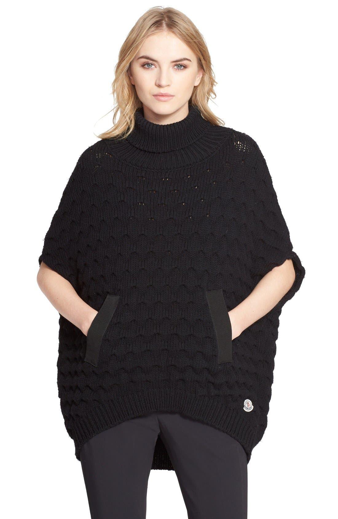 moncler wool turtleneck poncho
