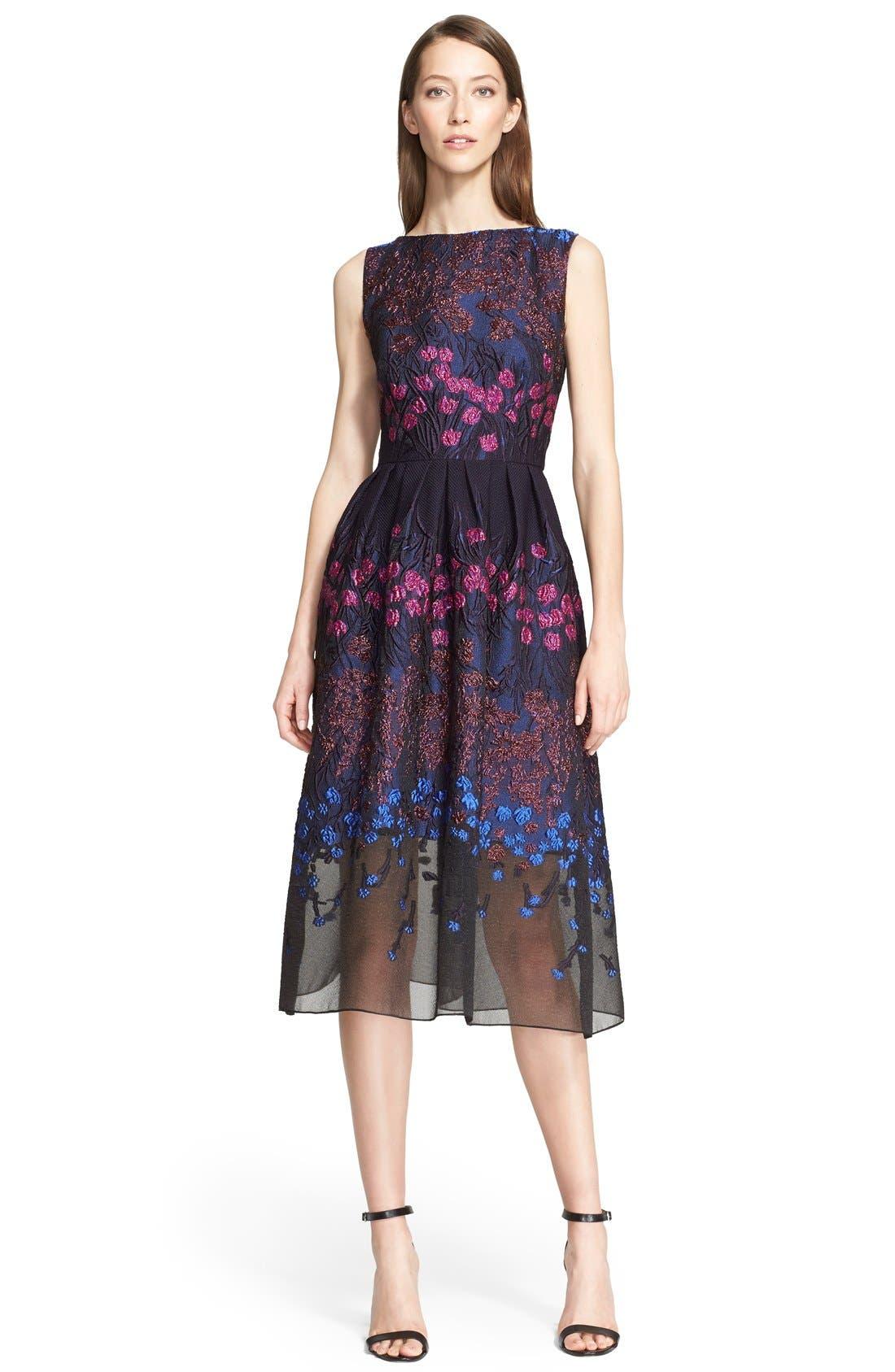 Main Image - Lela Rose Floral Fil Coupé Fit & Flare Dress