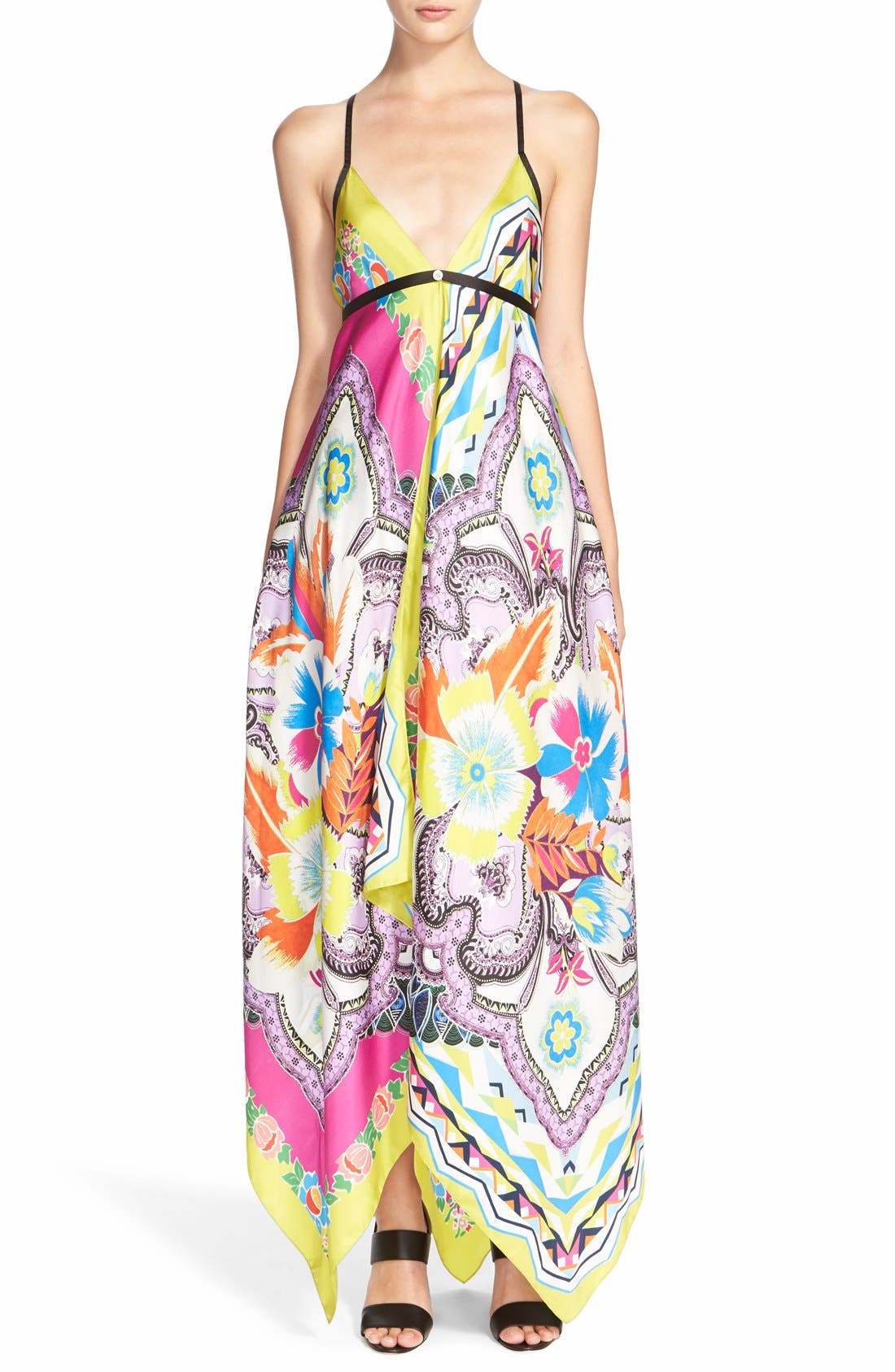 Main Image - Etro Floral Print Silk Handkerchief Dress