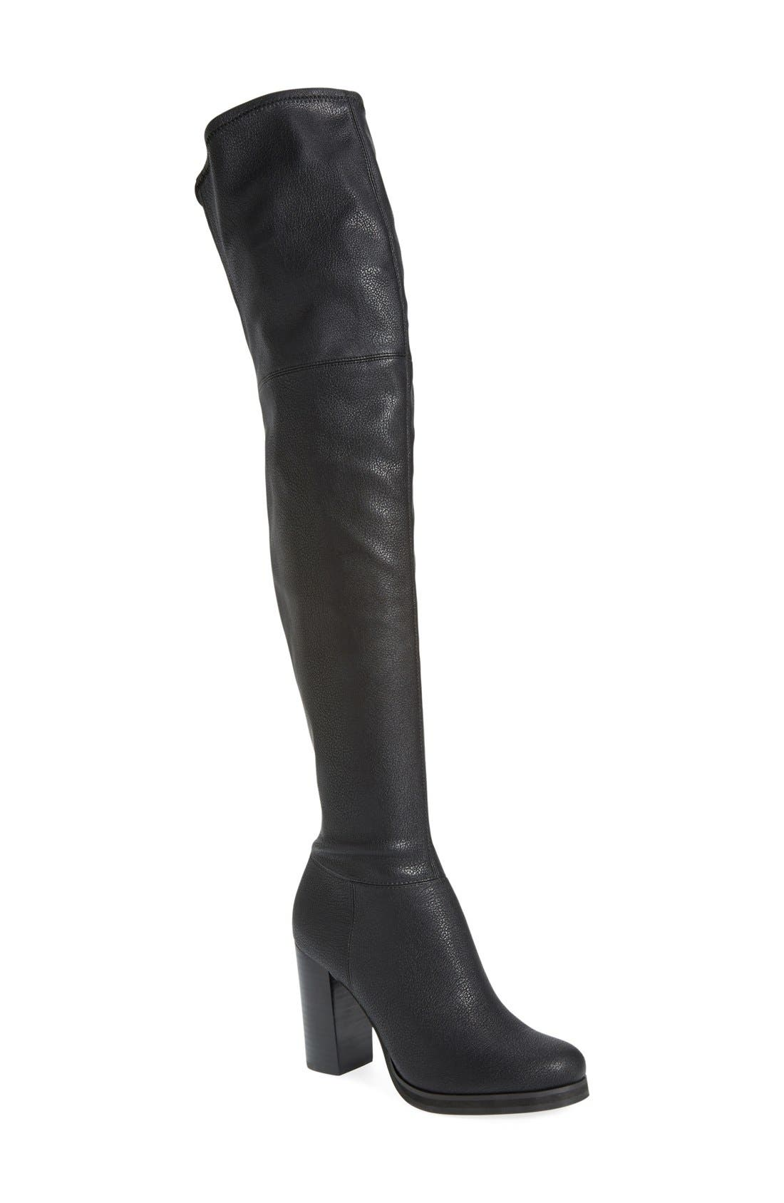 'Bisma' Over the Knee Boot,                             Main thumbnail 1, color,                             Black Pebbled Stretch