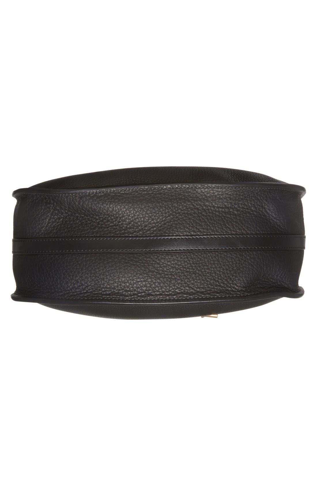 'Small Hayley' Leather Hobo Bag,                             Alternate thumbnail 6, color,                             Black