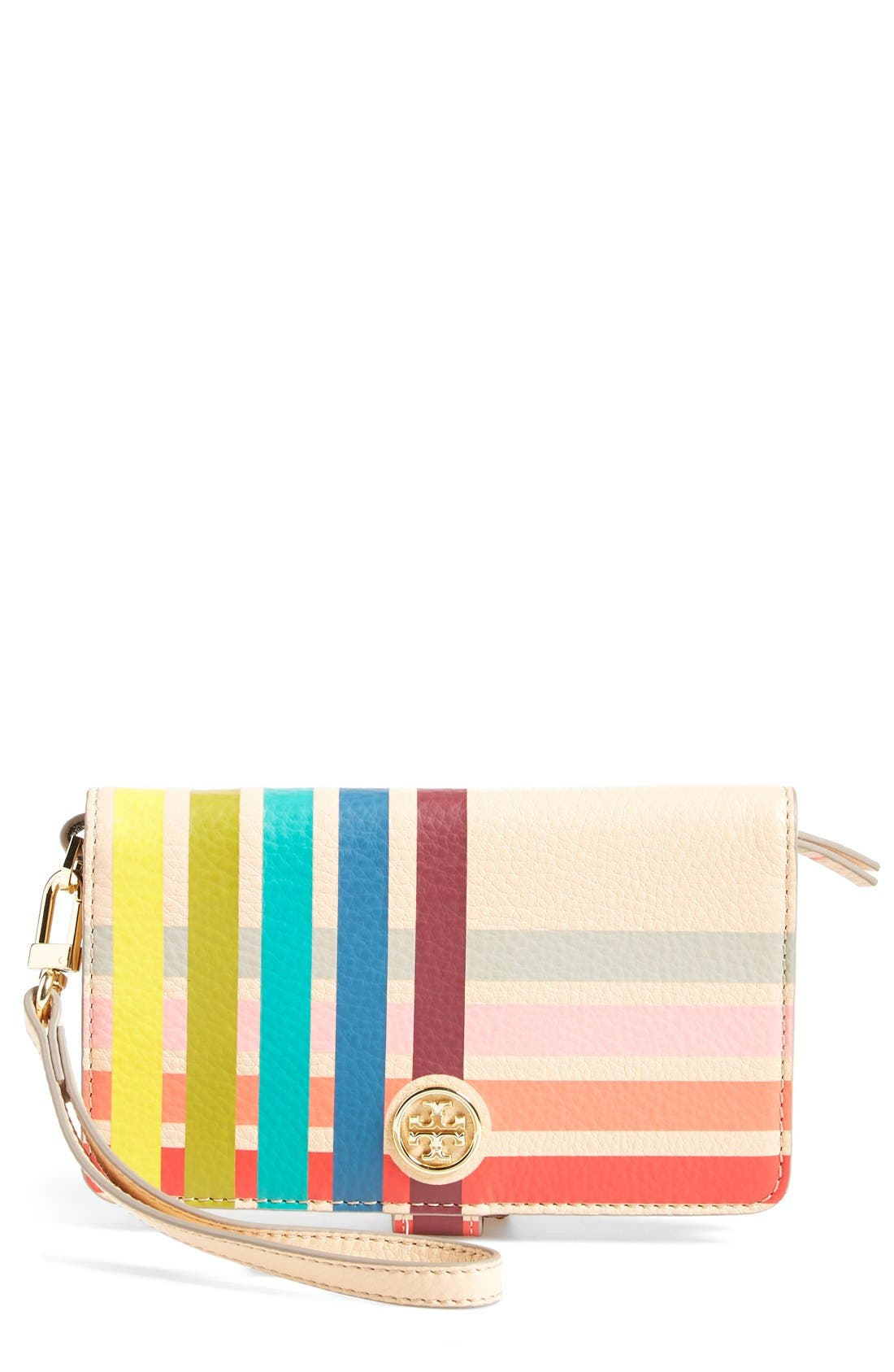 Main Image - Tory Burch Striped Phone Wristlet