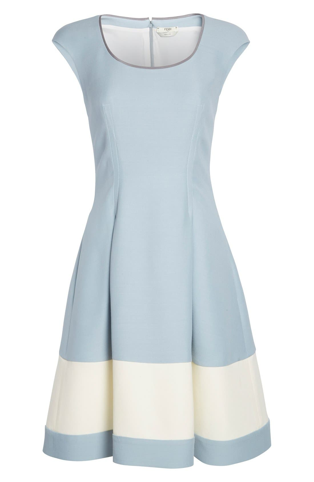 Alternate Image 4  - Fendi Stripe Wool & Silk Blend Fit & Flare Dress