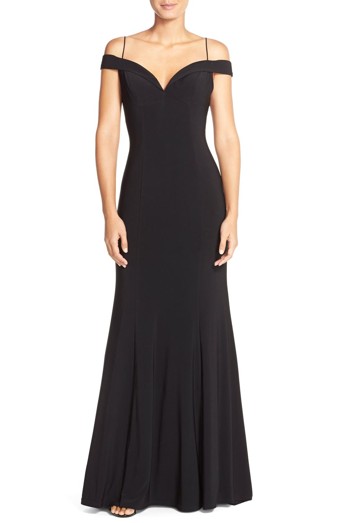 Main Image - Adrianna PapellOff the Shoulder Jersey Mermaid Gown