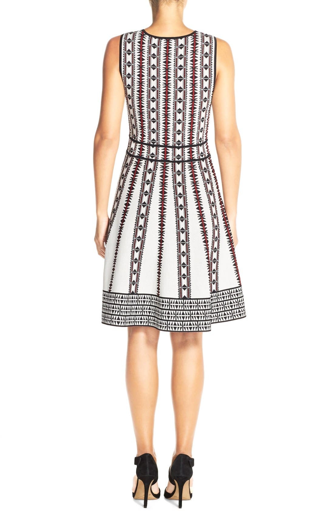 Alternate Image 2  - Vince Camuto Geometric Fit & Flare Sweater Dress