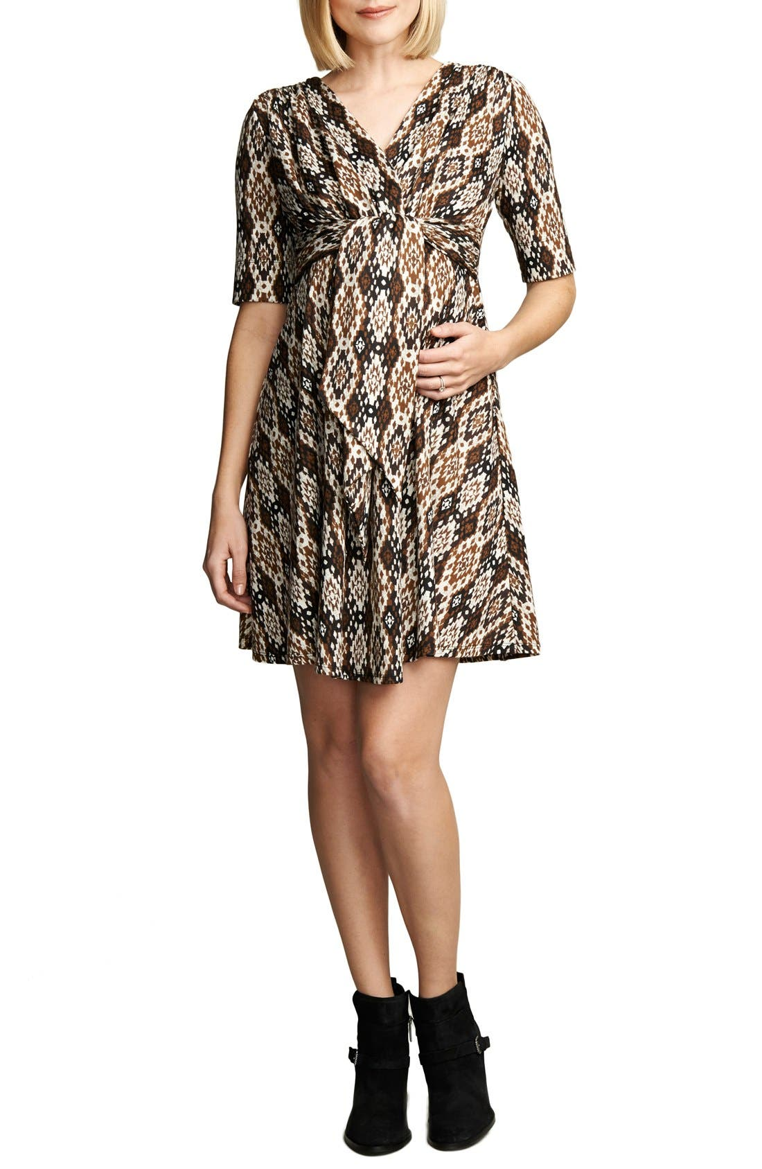 Print Tie Front Maternity Dress,                             Main thumbnail 1, color,                             Ikat Print