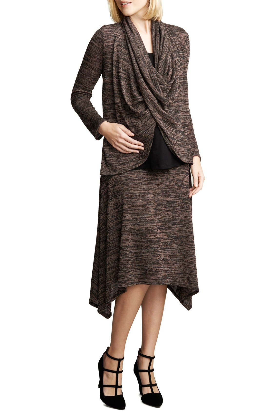Drape Maternity/Nursing Top,                         Main,                         color, Black/Blush Space Dye